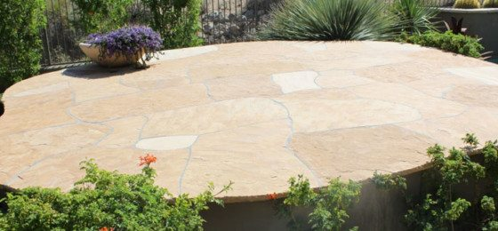 A beautiful flagstone outdoor deck