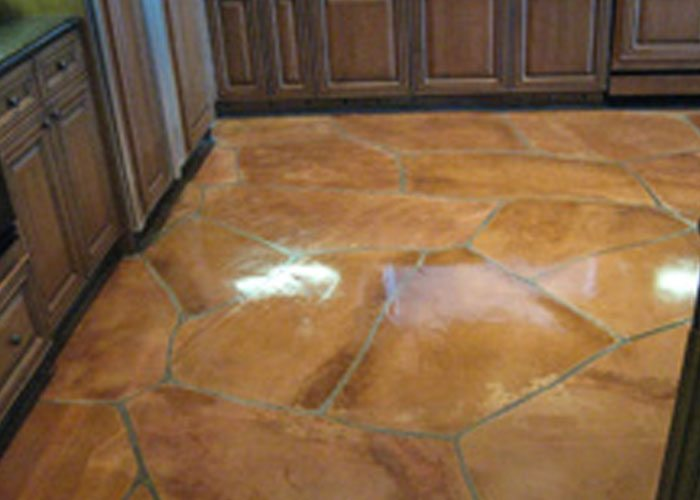 View of flagstone kitchen floor after repair of water damage