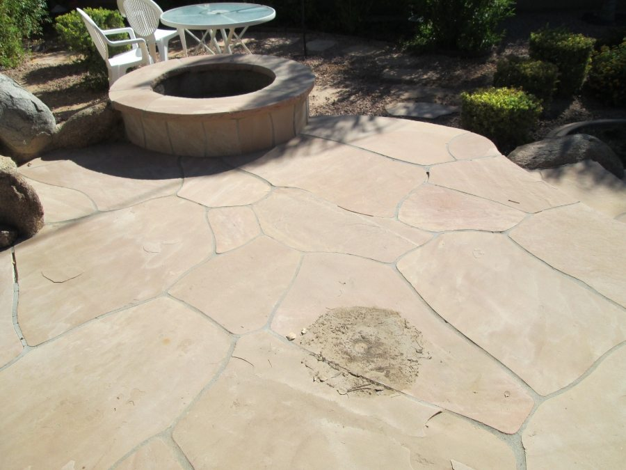Before: Dirty dusty flagstone patio | Flagstone Exterior | Photo Gallery | Baker's Travertine Power Clean