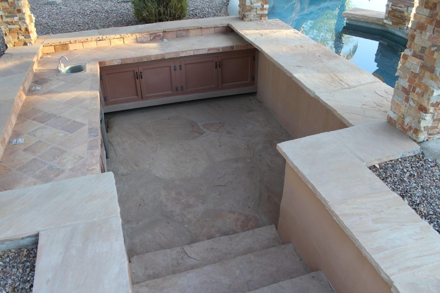 Before: Flagstone patio BBQ area | Flagstone | Interiors | Photo Gallery | Baker's Travertine Power Clean