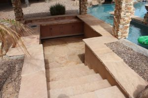 After: Flagstone bbq area | Flagstone | Interiors | Photo Gallery | Baker's Travertine Power Clean