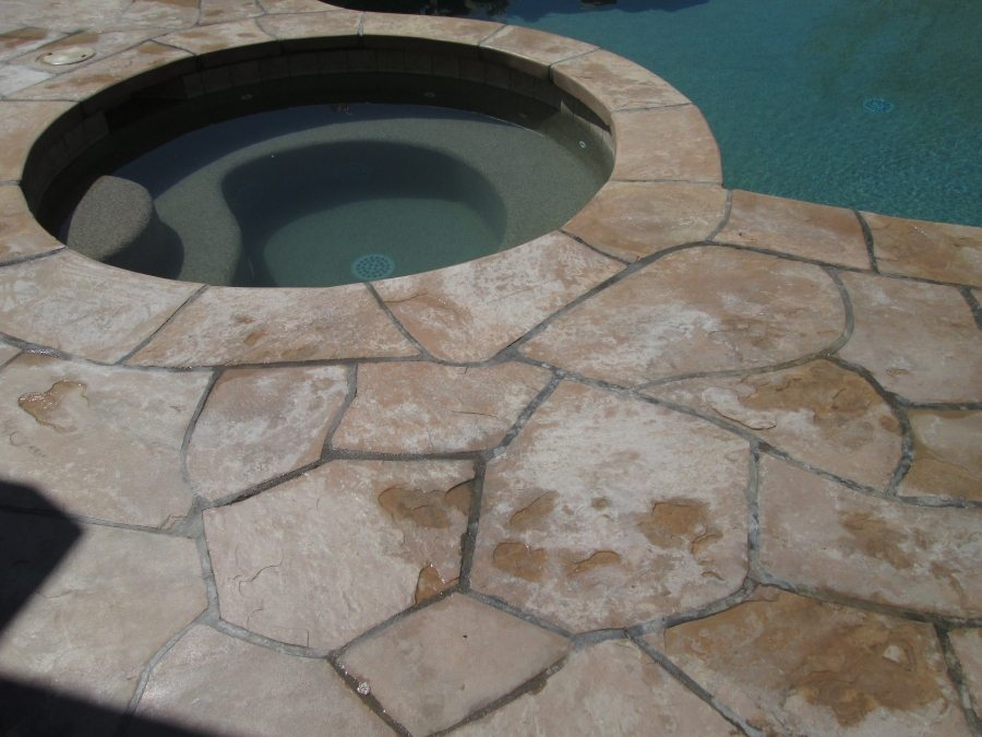 Before: Coated flagstone patio | Flagstone | Interiors | Photo Gallery | Baker's Travertine Power Clean