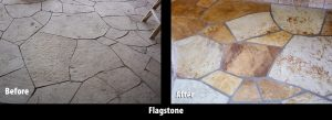 Before/After Flagstone patio   Flagstone   Interiors   Photo Gallery   Baker's Travertine Power Clean