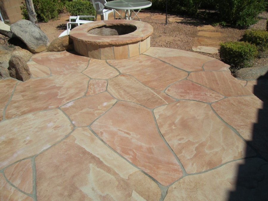 After: Flagstone patio cleaned and two part sealing | Flagstone Exterior | Photo Gallery | Baker's Travertine Power Clean