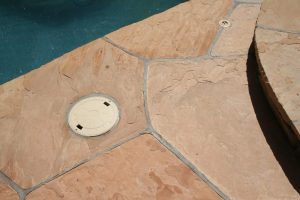 Flagstone repair completed   Flagstone Exterior   Photo Gallery   Baker's Travertine Power Clean