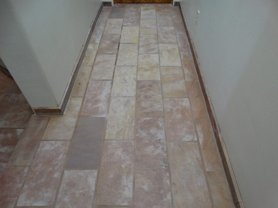 Before: Dull flagstone hall | Flagstone | Interiors | Photo Gallery | Baker's Travertine Power Clean