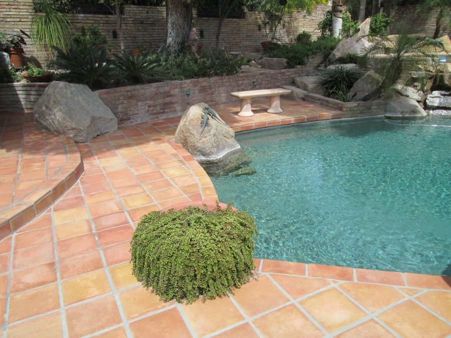 Before: Saltillo patio Paradise Valley | Saltillo Exterior Patios | Photo Gallery | Baker's Travertine Power Clean