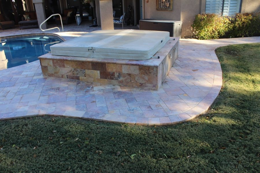 Before: Travertine paver patio | Patios, Pools & Decking | Travertine | Baker's Travertine Power Clean