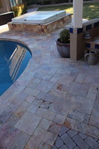 Before: Travertine paver patio | Patios, Pools & Decking | Travertine | Baker's Travertine Power Clean