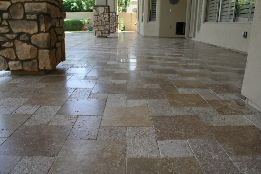 Travertine paver patio | Patios, Pools & Decking | Travertine | Baker's Travertine Power Clean