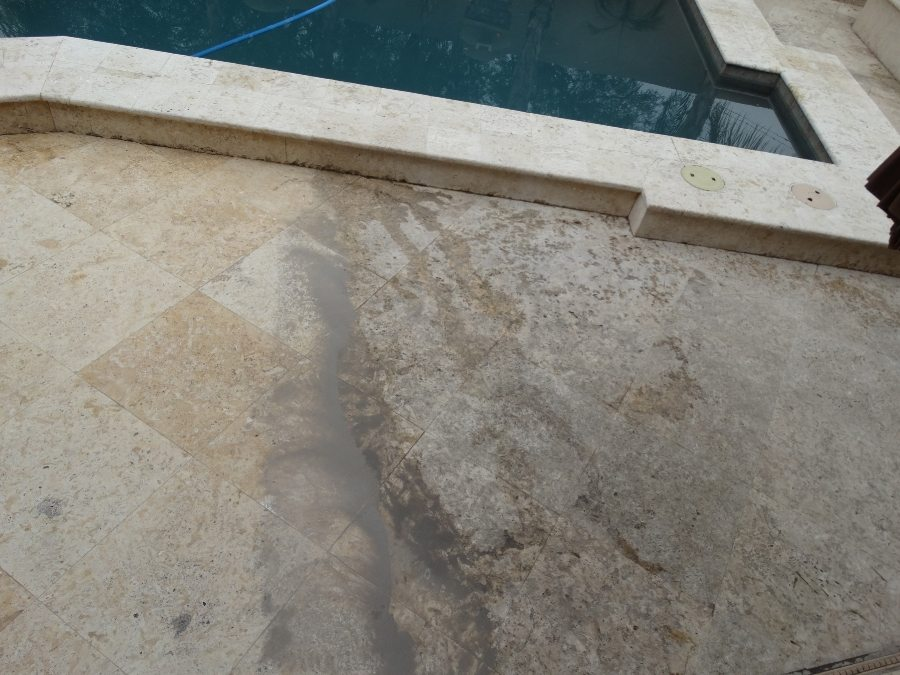 Before/After: Travertine patio | Patios, Pools & Decking | Travertine | Baker's Travertine Power Clean