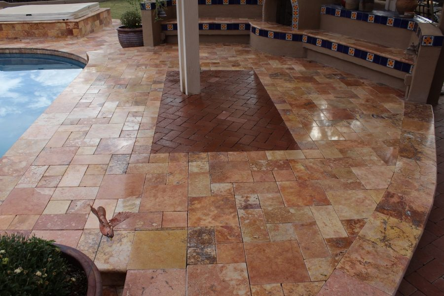 After: Travertine patio pavers | Patios, Pools & Decking | Travertine | Baker's Travertine Power Clean