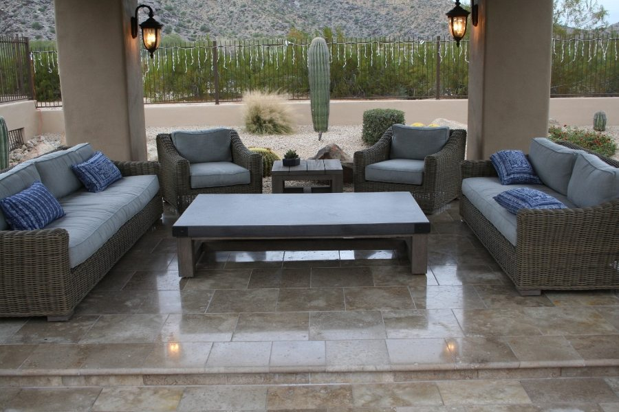 After: Travertine patio | Patios, Pools & Decking | Travertine | Baker's Travertine Power Clean