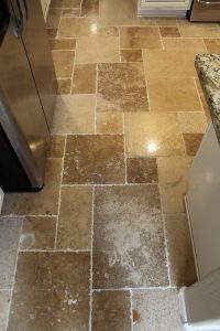 After: Grout color seal on repair area | Ceramic & Porcelain | Photo Gallery | Baker's Travertine Power Clean