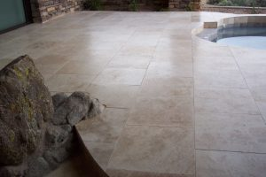 After: The patio is more level, no toe stubbers!   Grinding & Lippage   Travertine   Baker's Travertine Power Clean