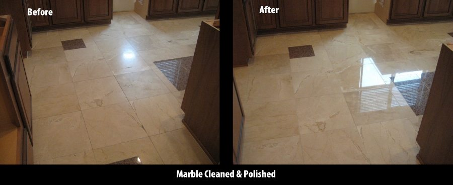 Before/After: Marble kitchen floor   Marble   Interiors   Photo Gallery   Baker's Travertine Power Clean