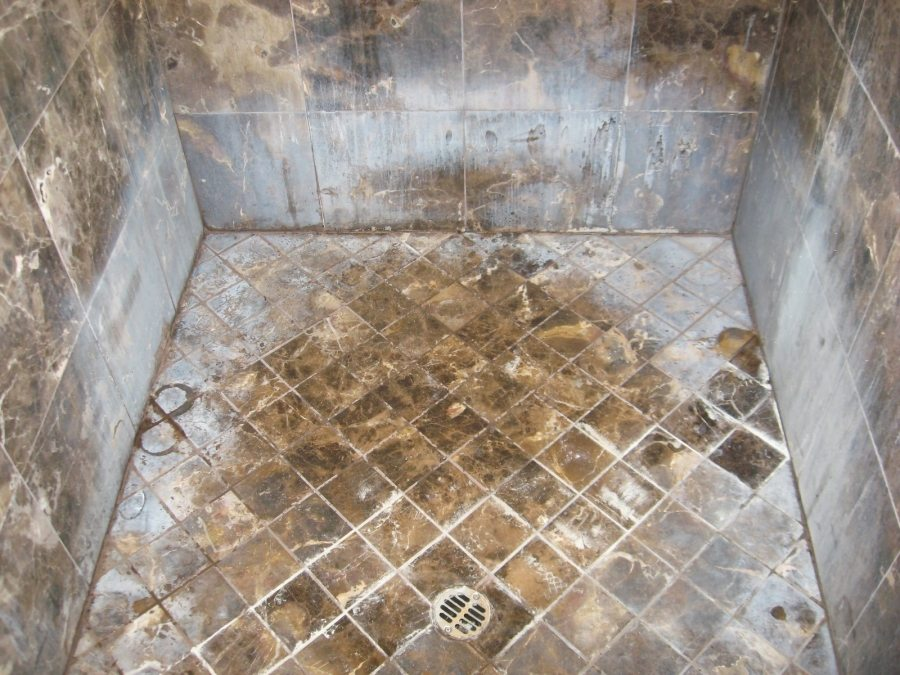 Before: Marble shower   Marble   Interiors   Photo Gallery   Baker's Travertine Power Clean
