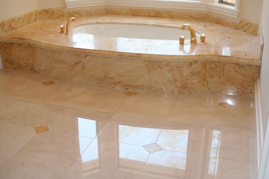 Marble bathroom floor & tub deck   Marble   Interiors   Photo Gallery   Baker's Travertine Power Clean