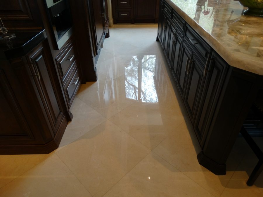 Marble kitchen area High Polish   Marble   Interiors   Photo Gallery   Baker's Travertine Power Clean