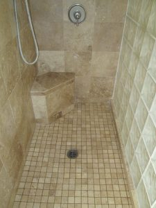 After: Travertine shower in Chandler | Showers & Vanities | Interior Gallery | Baker's Travertine Power Clean