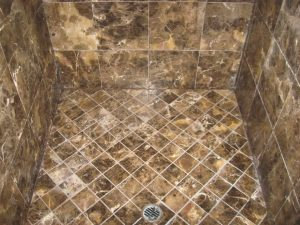 After: Brown marble shower cleaned and polished in Scottsdale | Showers & Vanities | Interior Gallery | Baker's Travertine Power Clean