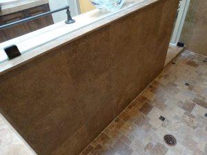 After: Travertine shower in Fountain Hills   Showers & Vanities   Interior Gallery   Baker's Travertine Power Clean