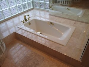 After: Tub deck polished in Paradise Valley | Showers & Vanities | Interior Gallery | Baker's Travertine Power Clean