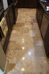 After: Tumbled travertine polish | Tumbled Travertine Gallery | Travertine | Baker's Travertine Power Clean