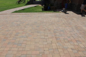 Image shows pavers before treatment