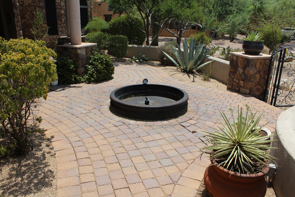 Concrete pavers after with mineral rings removed